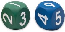 Dado x 2 goma espuma números.